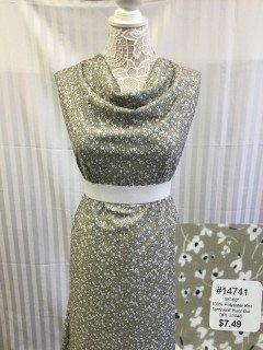 14741 Terry Knit Fuzz Dot Light Olive White Black