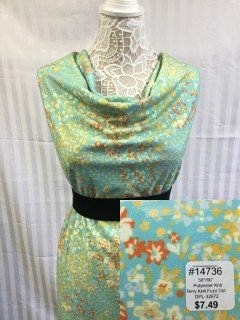 14736 Terry Knit Fuzz Dot Cyan Gold Orange
