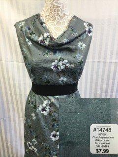 14748 Glitter Line Embossed Knit Teal Cyan