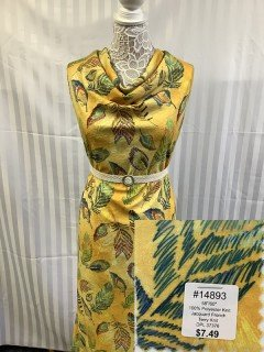 14893 Jacquard French Terry Knit Yellow Green