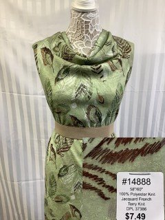 14888 Jacquard French Terry Knit Sage Brown