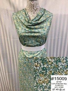 15009 Fall Glitter Sweater Knit Green Flowers