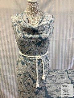 14923 Tropic Floral Soft Knit Faded Denim