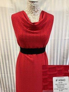 14940 Window Tuck Stretch Knit Pepper Red