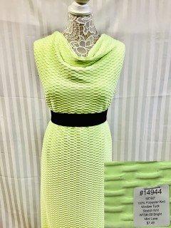 14944 Window Tuck Stretch Knit Bright Mint Lime