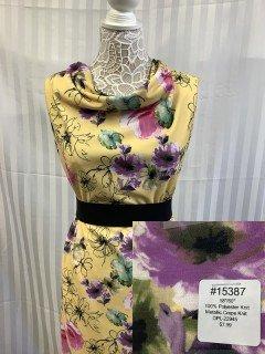 15387 Metallic Crepe Knit Yellow Rose Purple