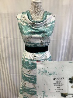 15637 French Terry Knit Teal White Brown