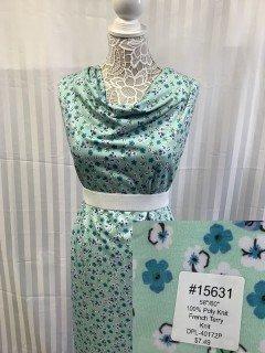 15631 French Terry Knit Aqua Blue White
