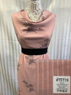 15119 Linked Leaf Knit Embroidert Silver Pink