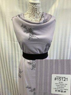 15121 Linked Leaf Knit Embroidert Purple Heather