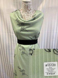 15120 Linked Leaf Knit Embroidert Smoke Green