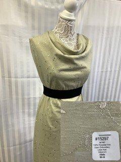 15297 Open Embroidery Linen Knit Alfalfa