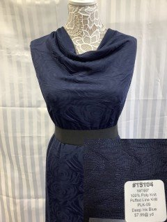 15104 Puffed Line Knit Deep Ink Blue