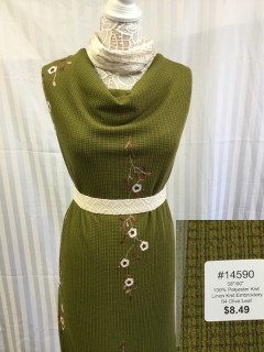 14590 Linen Knit Embroidery Olive