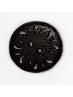 1496 Wooden Button with cutouts Black