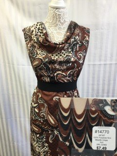 14770 Metalic Crepe Knit Chocolate Tan Black