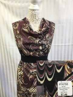 14768 Metalic Crepe Knit Brown Gold Black