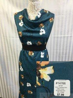 14766 Glitter Line Embossed Knit Steel Blue Gold White