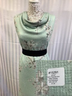 15291 Glitter Sweater Knit Embossed Pale Green