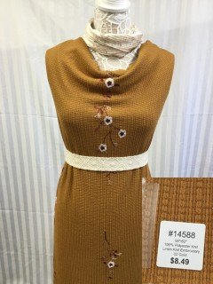 14588 Linen Knit Embroidery Gold