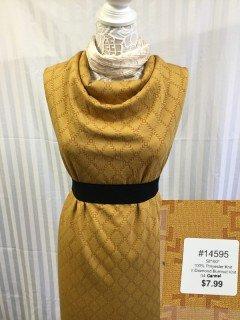 14595 V Diamond Burnout Knit Carmel