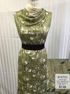 14723 Golden Touch Knit Green Olive Peach  White