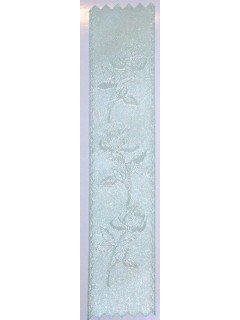 Rose Embossed Ribbon Silver Mint